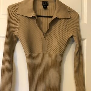 INC Fitted, Tan Sweater, Medium